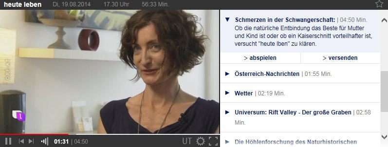 ORF Beitrag mit Angela Paulczinsky in Heute Leben über Schmerzen bei der Geburt